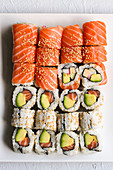 Sushi platter with salmon and avocado