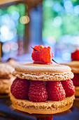A macaroon with raspberries