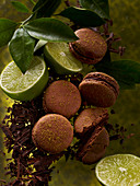 Macarons with chocolate and limes