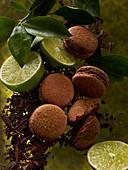 Macarons mit Schokolade und Limetten