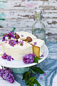 Ricotta cake with lilacs