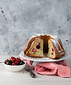 Cherry ring cake with poppy seeds