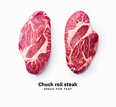 Black angus prime beef chuck roll steak isolated on white background with copy space