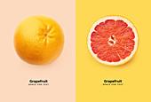 Ganze und halbe Grapefruit auf buntem Hintergrund