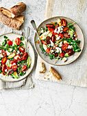 Warm chorizo, avocado and feta salad
