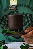 Tea bag and mint