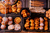 Pastries on display in a French boulangerie