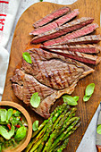 Grilled beef steak grilled asparagus