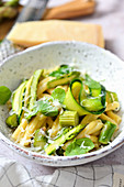 Pasta with zucchini asparagus and Parmesan cheese