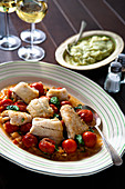 Flounder Fillets with Tomato Onion and Basil Sauce