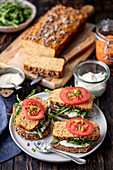 Lentil and courgette pate on bread