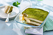 Matcha tiramisu with amaretto