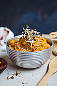 Lentil curry spread with sprouts