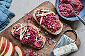 Beetroot and horseradish spread with apple