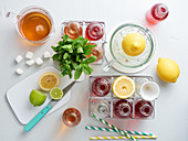 Classic iced tea and fruit iced tea with ingredients