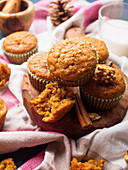 Spiced carrot muffins with cinnamon and walnuts