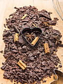 Shredded dark chocolate with cinnamon and star anise