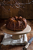 Chocolate banana cake with caramel sauce