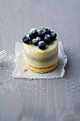 White chocolate tart with blueberries and lavender