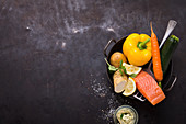 Ingredients for zoodles with salmon and horseradish