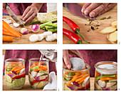 Preparing pickled spring vegetables