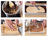 Preparing homemade snickers bars