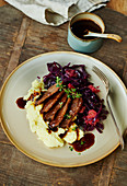Goose breast with puree, red cabbage and gravy
