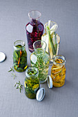 Herb oils and vinegars with thyme, rosemary, basil, sage and coriander