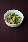 Roasted potato and rocket salad with cashew pesto