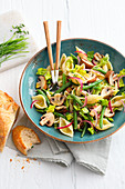 Pasta salad with mushrooms and beans