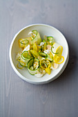 Zucchini citrus salad with mozzarella and cardamom