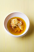 Chicken noodle soup with saffron and ginger