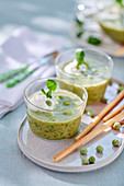 Cress and potato soup with wasabi