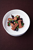 Chocolate thyme mousse with cassis gel