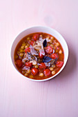 Chickpea and tomato minestrone with ajowan hummus