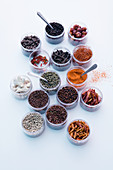 Various hot spices in jars