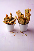 Fennel and pistachio shortbread, and cumin cantucci
