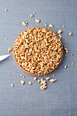 Rhubarb and rosemary tart with almond crumble