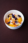 Carrot, passion fruit salad with ajowan and red basil
