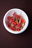 Tomato and barley salad with chilli and bronze fennel