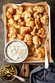 Fried cauliflower with fit tartare sauce