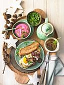 Savoury Christmas farmer's breakfast with fried egg sandwich