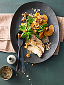 Sweet potato and chanterelle salad with chicken breast