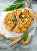 Wild garlic and courgette tart, sliced