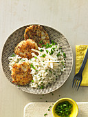 Celeriac escalope with a pretzel crumb crust with chive risotto