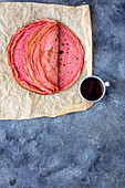 Crepes with beetroot juice