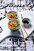 Oriental wheat noodles with fried vegetable strips