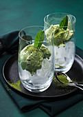 Matcha ice cream on the rocks