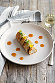 Aubergine rolls with gorgonzola and honey sauce