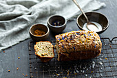 Banana and courgette bread with edible flowers